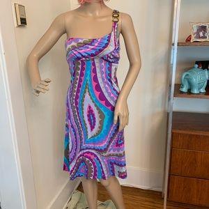 Trina Turk One Shoulder Embellished Print Dress 2